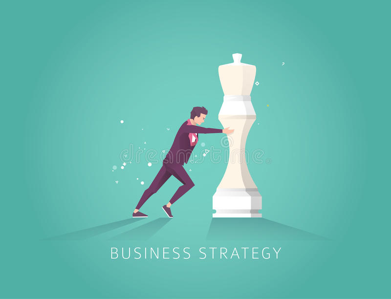 Leader choose the best strategic way to move chess. Vector flat illustration. royalty free illustration