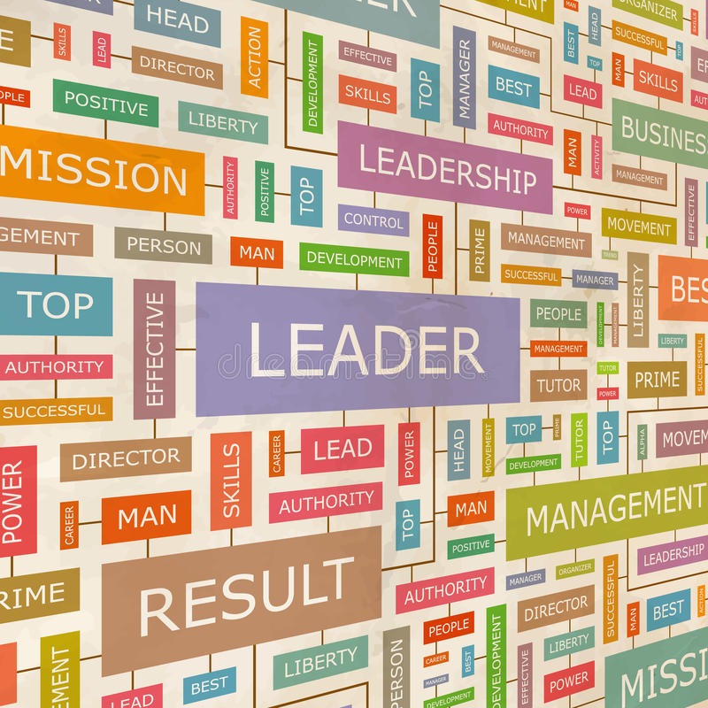 LEADER. Concept related words in tag cloud. Conceptual info-text graphic. Word collage royalty free illustration