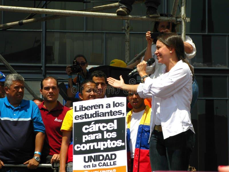 Leader dell'opposizione venezuelano Maria Corina Machado fotografie stock