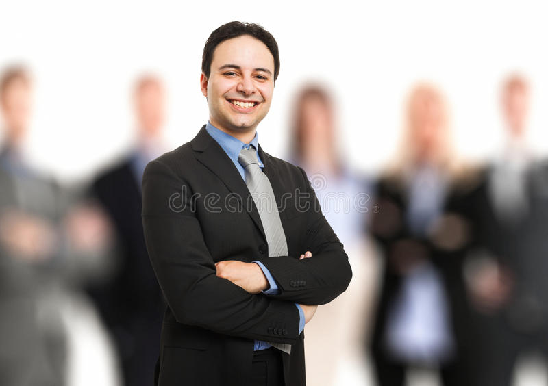 Leader In Front Of His Team Royalty Free Stock Image