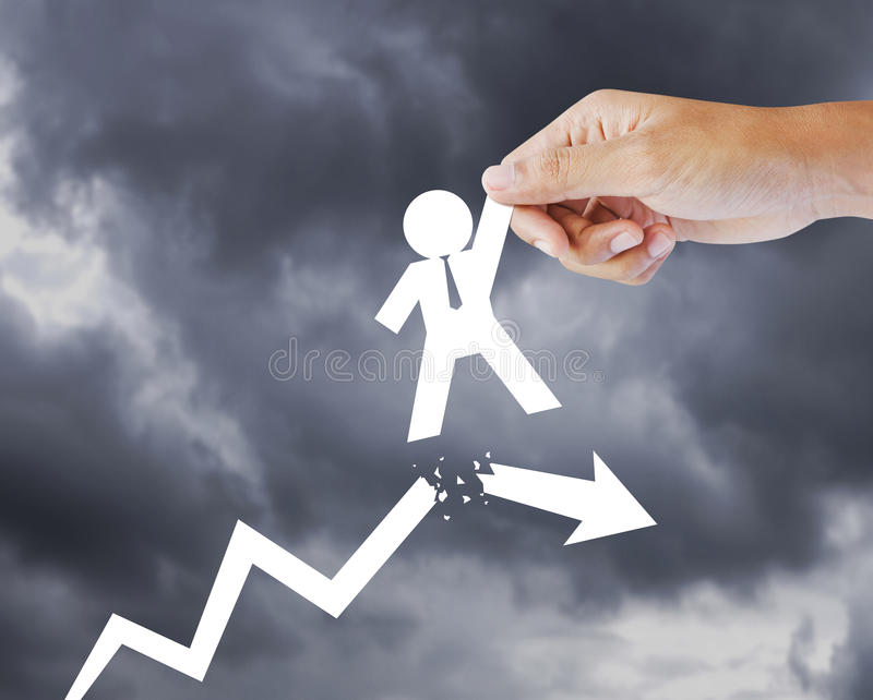 Leader helping a businessman from crisis royalty free stock photography