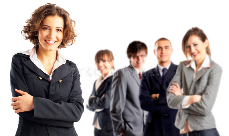 Leader and her team royalty free stock photo