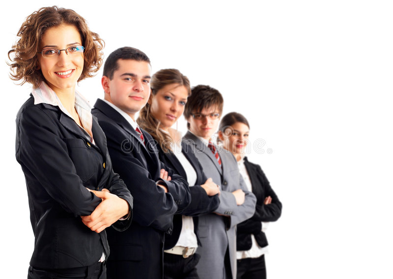 Leader and her team stock image