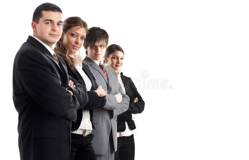 Leader and his team. Young attractive business people in a row royalty free stock image
