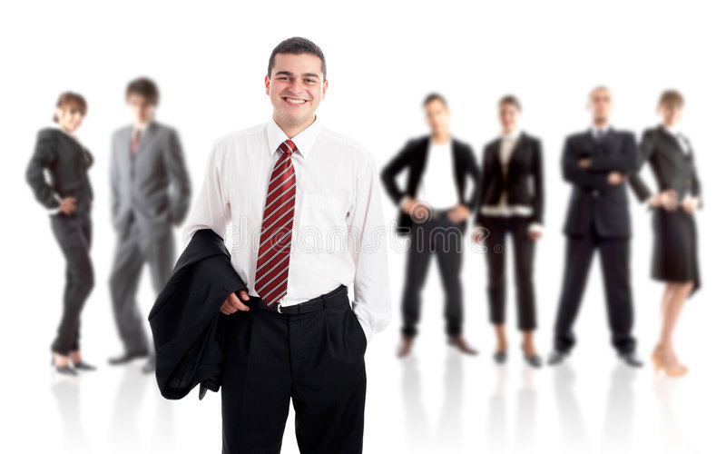 Leader and his team. Young attractive business people royalty free stock photo