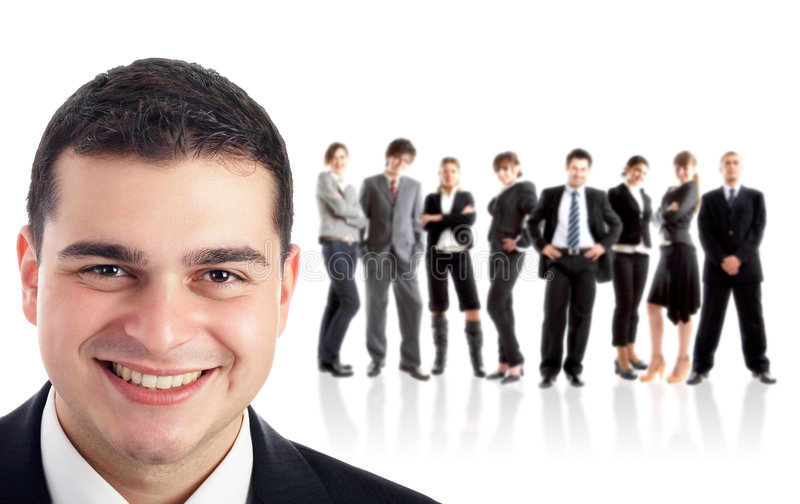 Leader and his team. Young attractive business people stock images