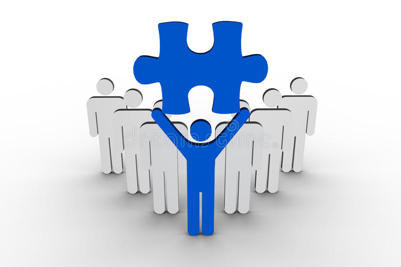 Leader holding blue jigsaw piece next to line of human figures royalty free illustration