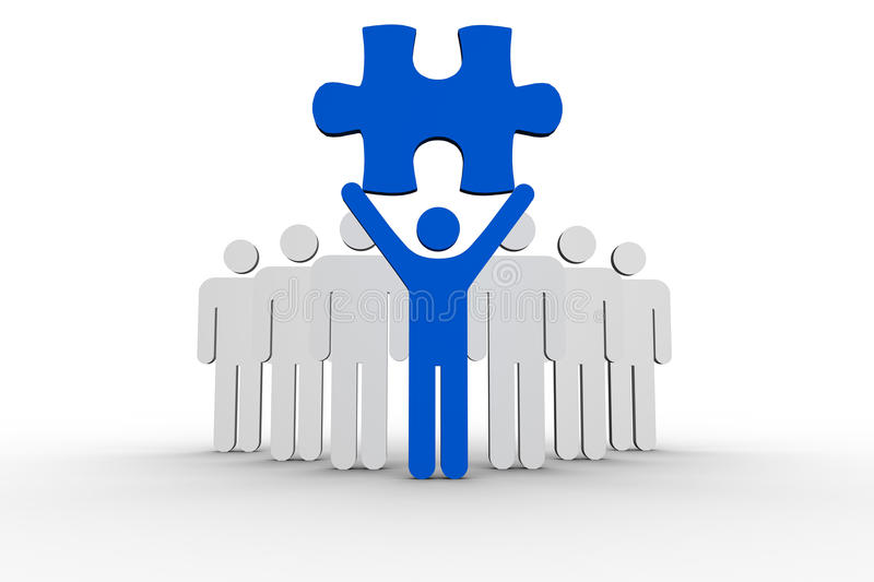 Leader holding blue jigsaw piece next to line of human forms royalty free illustration