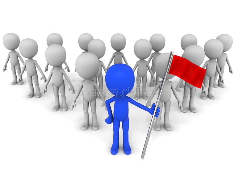 Leadership. Leader holding flag in front of his team, white background, leadership concept vector illustration