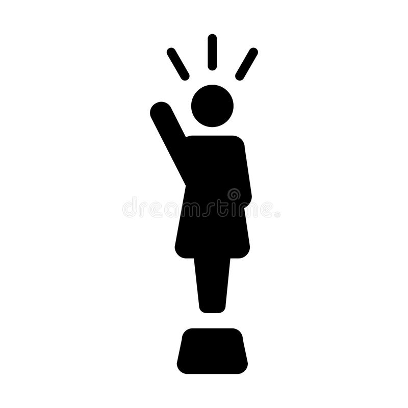 Leader Icon vector female public speaker person symbol. For leadership with raised hand in glyph pictogram illustration stock illustration