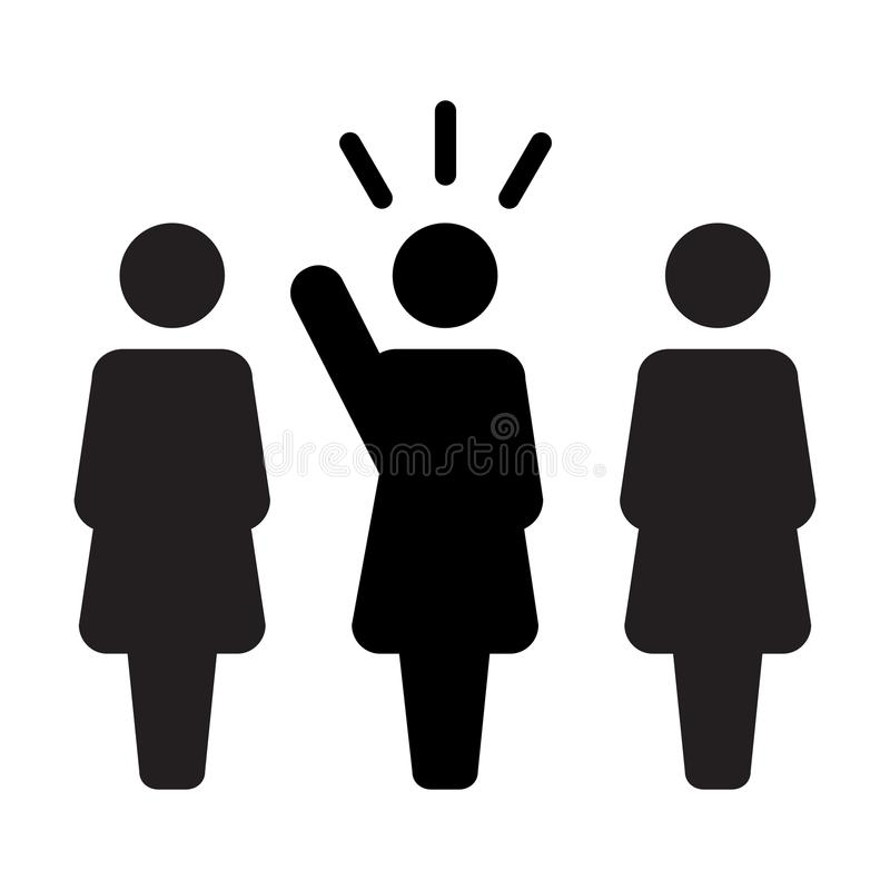 Leader Icon vector female public speaker person symbol for leadership with raised hand in glyph pictogram. Illustration vector illustration