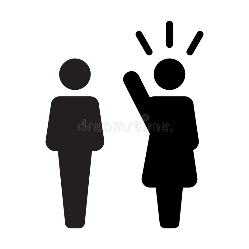 Leader Icon vector male and female public speaker person symbol for leadership with raised hand in glyph pictogram. Illustration royalty free illustration