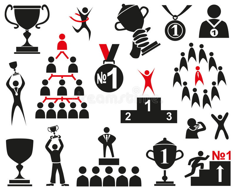 Leader. Image of black icons on a white background with the attributes of a leader and a winner royalty free illustration