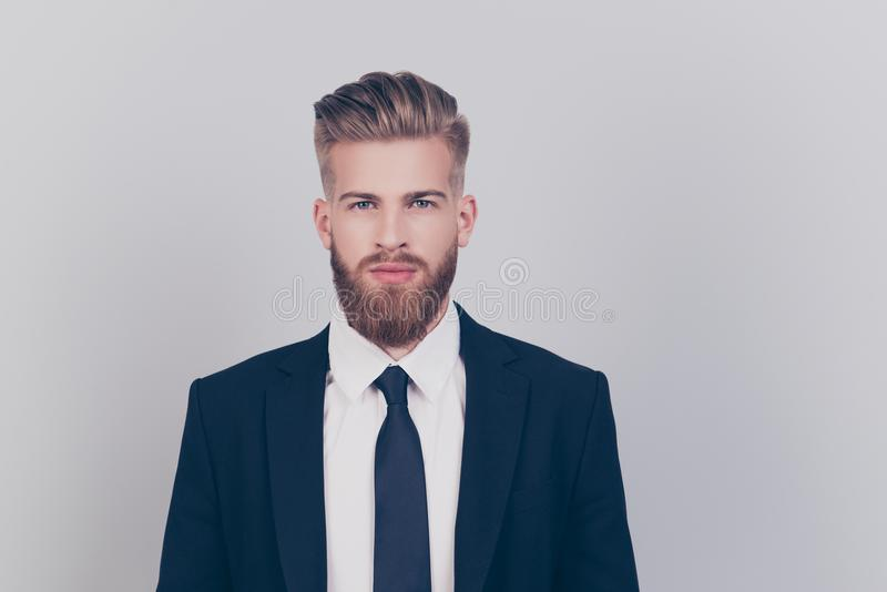 Leader leadership professional success concept. Portrait of strict harsh handsome attractive fashionable groomed economist stock image