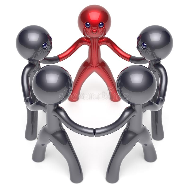 Leader leadership stylized character teamwork circle people. Leader leadership stylized man character. teamwork circle people social network human resources vector illustration