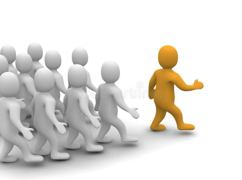 Leader leading his group. 3d rendered illustration vector illustration
