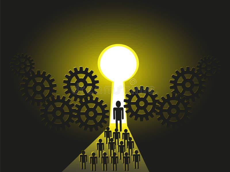 A leader Mentor leading tems towards success door. Business leader leading his team members, subordinates, peers, colleagues, followers, towards a Success door royalty free illustration