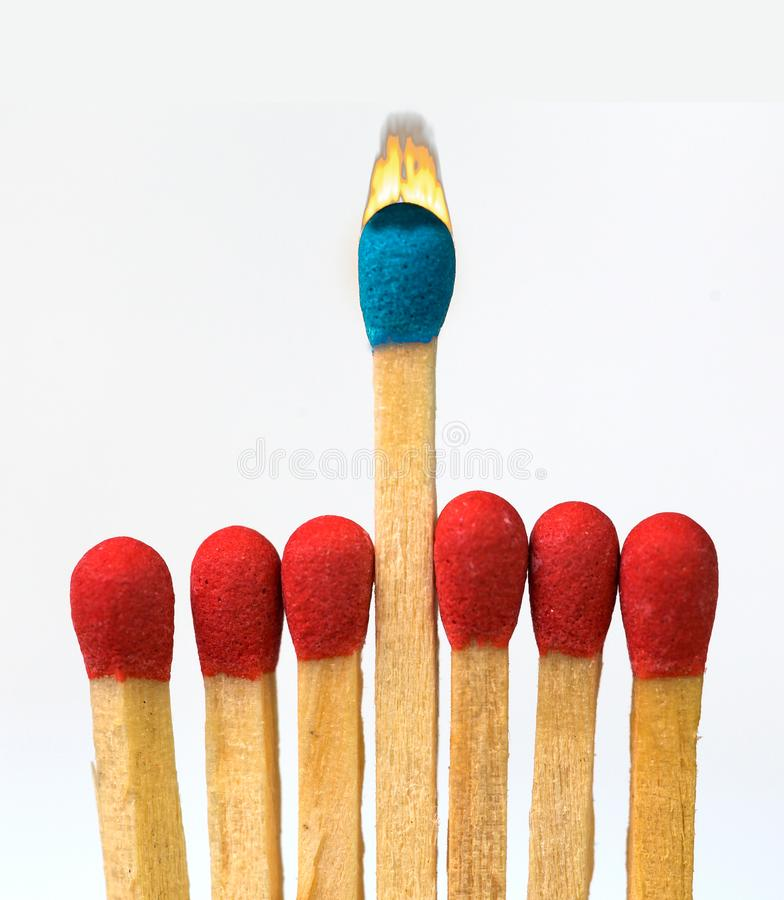 Leader one exception, competitive adantage colors stock photo