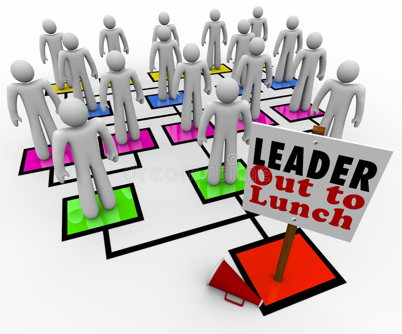 Leader Out to Lunch Missing Leadership Company Organization Char. A leader is missing on an organizational chart, with megaphone on the floor beside the sign royalty free illustration