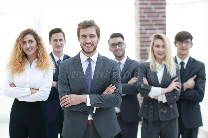 Leader and a professional business team. royalty free stock images