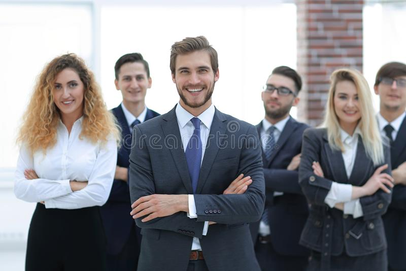Leader and a professional business team. stock photo