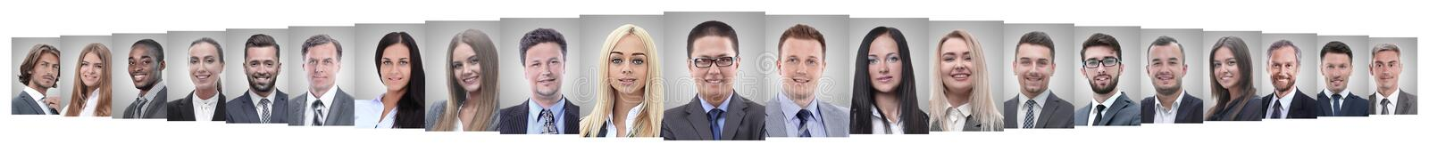 Leader and professional business team standing together. Isolated on white background royalty free stock photography