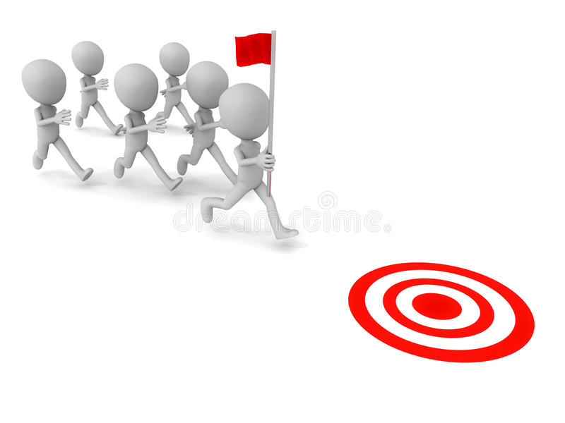 Leadership. Leader running with flag with others following, ready to reach target, white background, leadership concept stock illustration