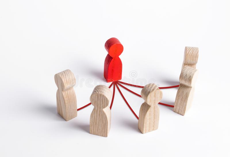 A leader and a semicircle of employees are connected by lines. Business management and giving orders to staff. Leadership stock image