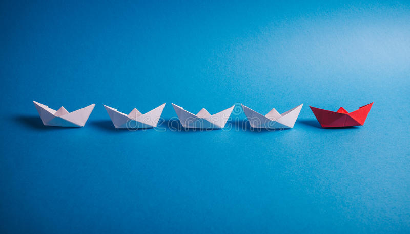 Download Leader Ship, Origami Paper Boats Stock Photo - Image of white, activity: 83719816