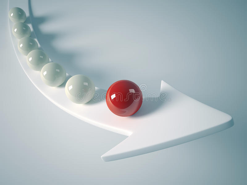 Leader sphere. Sphere team rising on arrow with the red sphere as leader - 3d render royalty free illustration