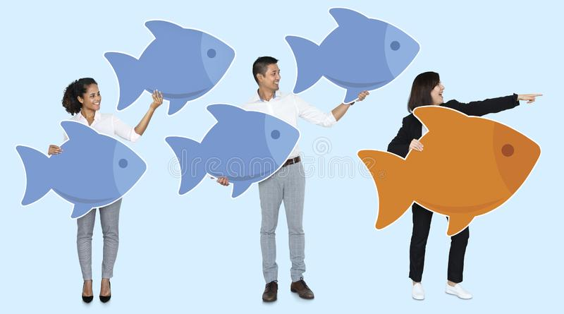 Leader standing out from the crowd royalty free illustration