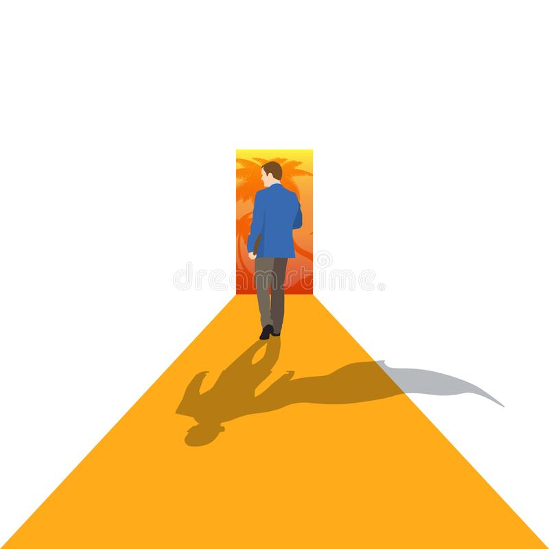 Leader stands on arrow and moves to his goal. Concept business illustration. - Vector. Illustration stock image