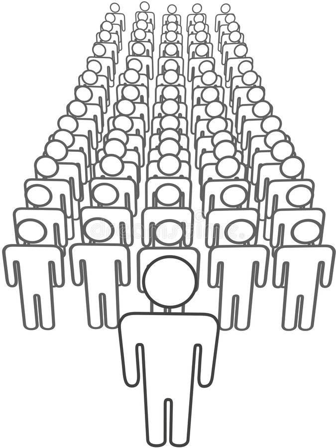 Leader stands in front of group scene from above vector illustration