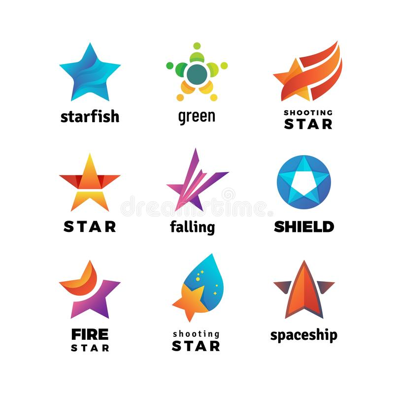 Leader star, rising stars vector logo. Comet with tail vector symbols isolated on white background. Star logo shape, business brand, branding bright royalty free illustration