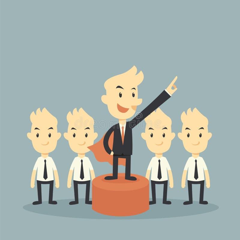 Leader. Super hero businessman leader concept vector illustration