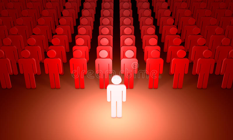 Leader (symbolic figures of people). 3D illustration rendering. Standing Out from the Crowd. Available in high-resolution and several sizes to fit the needs of royalty free illustration