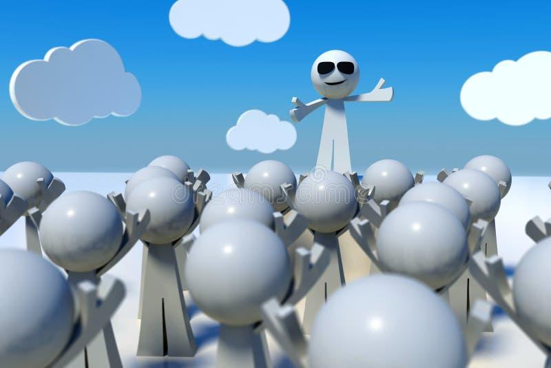 Leader talking in front of crowd, 3D render stock illustration