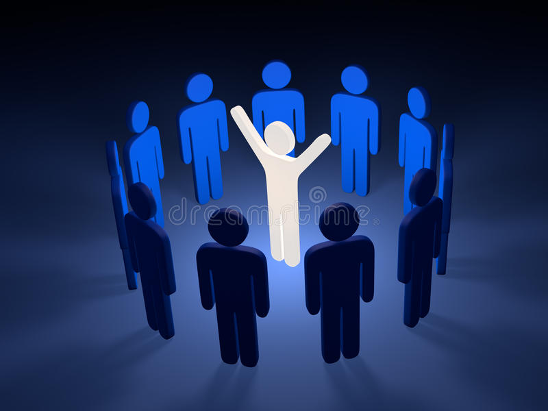 Leader with team. In circle; 3d graphic render royalty free illustration