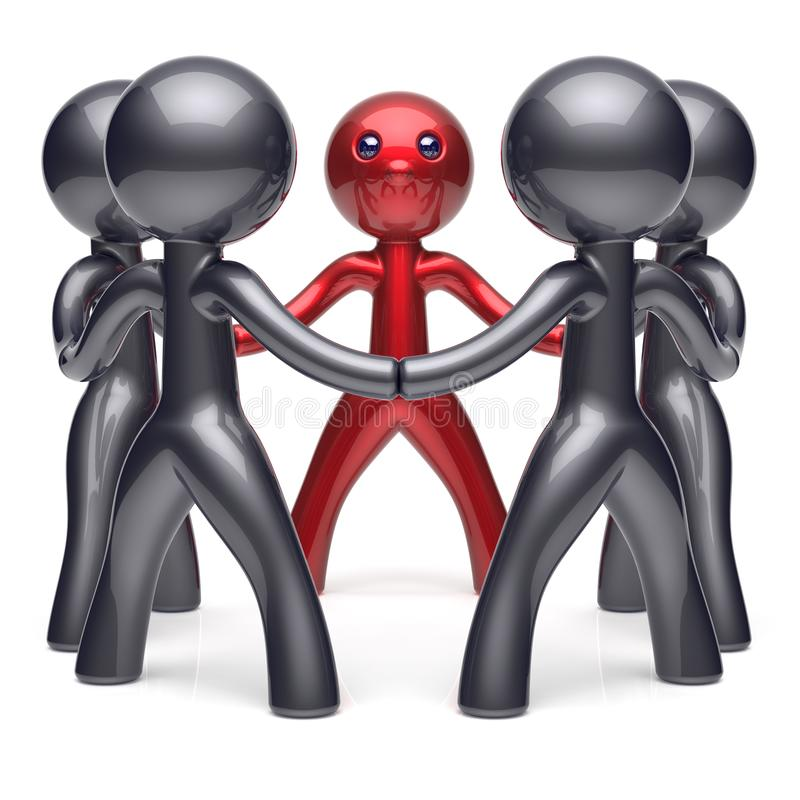 Leader teamwork circle stylized people social network icon. Leader teamwork circle stylized people social network human resources individuality leadership royalty free illustration