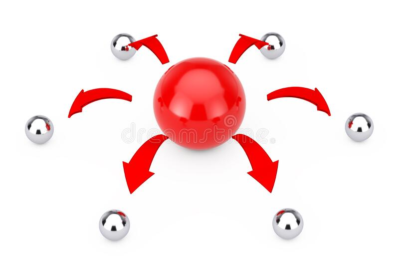 Leader and Teamwork Concept. Red Arrows direct from Red Sphere Ball to Many Chrome Sphere Balls. 3d Rendering. Leader and Teamwork Concept. Red Arrows direct royalty free illustration