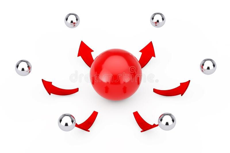 Leader and Teamwork Concept. Red Arrows direct from Red Sphere Ball to Many Chrome Sphere Balls. 3d Rendering. Leader and Teamwork Concept. Red Arrows direct vector illustration