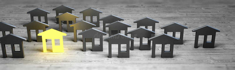 Leader village sale concept 3d rendering stock image