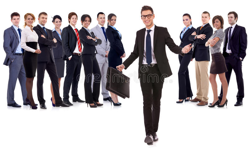 Leader Walking With Briefcase In His Hand Stock Photography