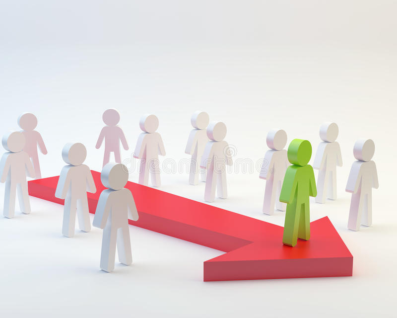 Leader. On white background, 3d people concept stock illustration