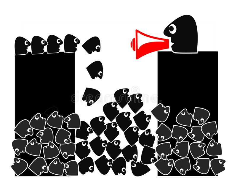 Demagogue and political agitator. Leader who exploits and the ignorance among common people for his own interests stock illustration