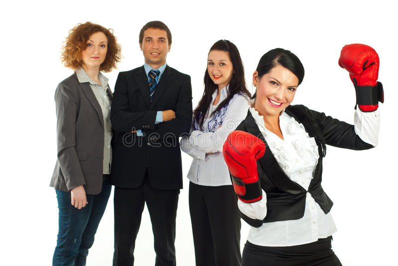 Leader woman and her teamwork royalty free stock images