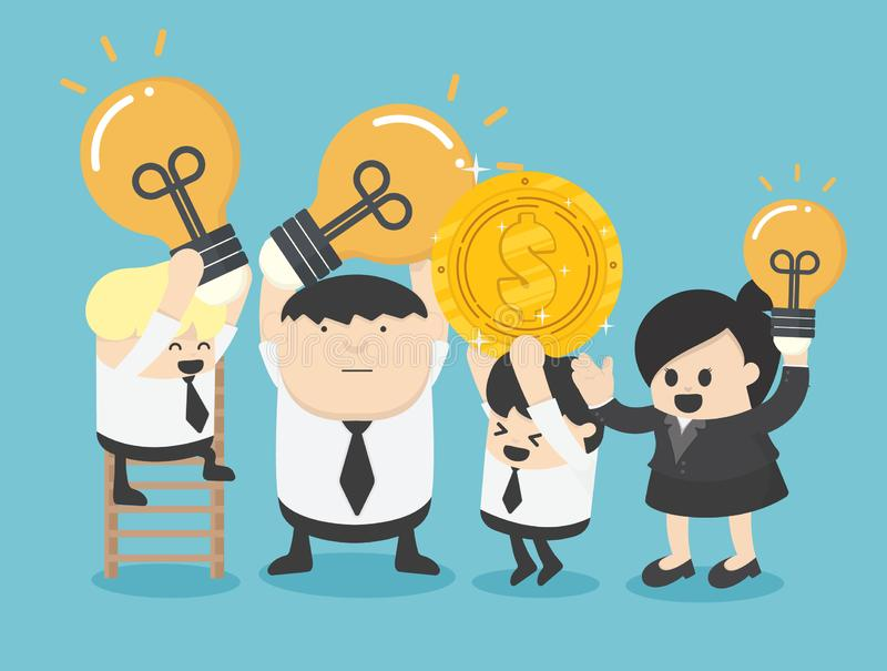 Leaders, businessmen, women, co-workers are showing gestures, holding coins and ideas that lead them to success. Eps.10 vector illustration