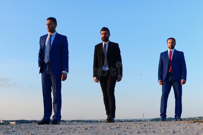 Leaders stand in line. Business success and difference of influence royalty free stock images