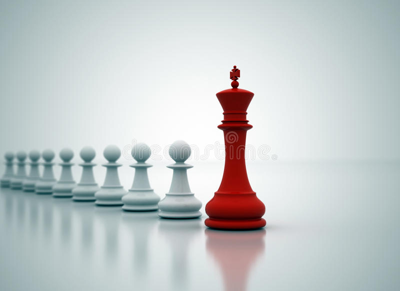 Leadership. Red king in front of white pawns royalty free illustration