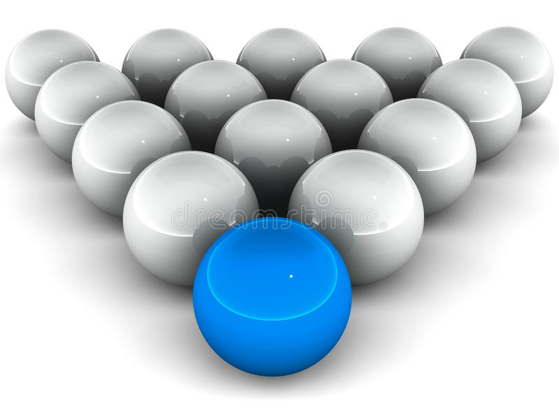 Leadership. One blue ball in heading formation of other grey balls on white background, leadership and teamwork concept royalty free illustration